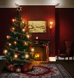 Christmas Tree Fireplace Decorated Living Room. 3D render of a Christmas Tree in a decorated atmospheric living room with a fireplace Lights at night Stock Image