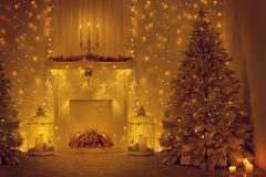 Christmas Tree and Fireplace, Decorated Xmas Home Room, Holiday royalty free stock photos