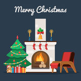 Christmas tree by the fireplace. Christmas tree with, gift box and toy by the fireplace. Christmas room interior. Vector illustration in trendy flat style for Royalty Free Stock Photo