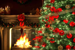 Christmas Tree  with a fireplace Stock Image
