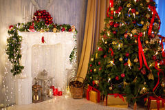 Christmas tree with fireplace. Royalty Free Stock Image