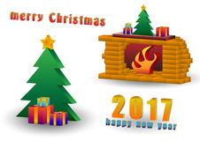 Christmas tree and fireplace Royalty Free Stock Photos