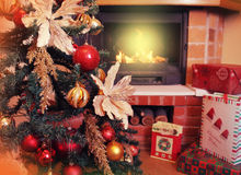 Christmas Tree and  fireplace Stock Photos