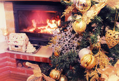 Christmas Tree and  fireplace Stock Photography