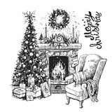 Christmas tree and fireplace. Sketch vector illustration interior with christmas tree and fireplace. Us for postcard, card, invitations and christmas decorations Royalty Free Stock Photo