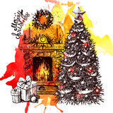 Christmas tree and fireplace royalty free illustration