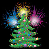Christmas tree and fireworks. Stock Image
