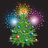 Christmas tree and fireworks. Christmas tree and fireworks on a black background Stock Image