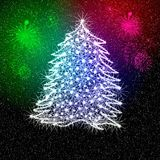 Christmas tree and fireworks. Illustration of shining white Christmas tree in midair with colorful fireworks in background Stock Image