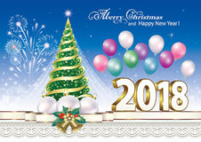 2018 Christmas tree. Christmas tree with fireworks and balloons Royalty Free Stock Photos