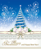 Christmas tree with fireworks.  Christmas tree with fireworks on a blue background Stock Images
