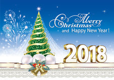 Christmas Tree 2018. 2018 Christmas tree with fireworks on  blue background Royalty Free Stock Photography