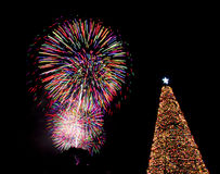 Christmas tree fireworks eve lights santa Stock Photo