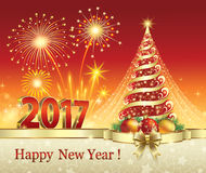 Christmas tree in 2017 with fireworks. 2017 Christmas tree with fireworks red background Stock Photos
