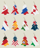 Christmas tree flag tags. Poland uk russia canada france spain mexico australia germany usa portugal and italy Royalty Free Stock Images