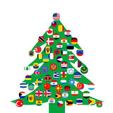 Christmas tree with  flags Stock Images