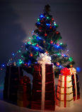 Christmas tree with flash, group gift box, shadow Stock Photo