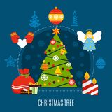 Christmas Tree Flat Composition. Christmas tree with star, baubles, lights, candles and gifts flat composition on dark blue background vector illustration Stock Photo