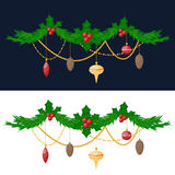 Christmas tree flat 3d isometric pixel art icon. Christmas tree twig with toys flat design vactor icon  on white. Christmas twig tree. New Year tree twig Royalty Free Stock Image