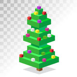 Christmas tree flat 3d isometric pixel art icon Stock Photography