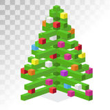 Christmas tree flat 3d isometric pixel art icon Royalty Free Stock Photo