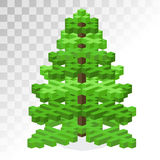 Christmas tree flat 3d isometric pixel art icon Royalty Free Stock Image