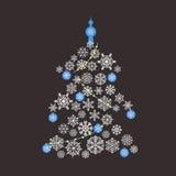 Christmas Tree Flat Design Royalty Free Stock Image