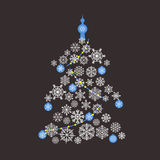 Christmas tree flat design Royalty Free Stock Image