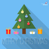 Christmas tree flat design greeting card. Royalty Free Stock Photo