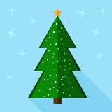 Christmas tree flat design icon. Christmas tree on blue background. Flat design icon Stock Photo