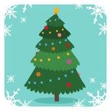 Christmas tree flat design vactor icon greeting card Royalty Free Stock Photos