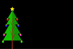 Christmas Tree - Flat Icon at Black Background. Vector Christmas Tree - Flat Icon at Black Background Royalty Free Stock Images