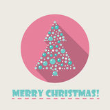 Vector Christmas tree flat icon. With long shadow Royalty Free Stock Photo