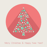 Vector Christmas tree flat icon. With long shadow Royalty Free Stock Image