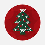 Christmas tree flat icon with long shadow.  Royalty Free Stock Photos