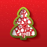 Christmas tree of flat icons. New Year. Royalty Free Stock Images
