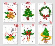 Christmas tree flat icons set. Christmas greeting cards collection. Christmas greeting card vector. New Year greeting cards. Christmas greeting card illustration Stock Photo