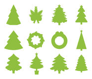 Christmas tree flat icons set. Christmas tree icons set. Christmas tree vector. New Year tree isolated. Christmas tree vector illustration. New Year tree Stock Images