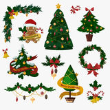 Christmas tree flat icons set. Christmas tree vector. New Year tree . Christmas tree vector illustration. New Year tree silhouette. Christmas decoration, balls Royalty Free Stock Images