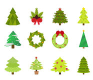 Christmas tree flat icons set. Christmas tree vector. New Year tree . Christmas tree vector illustration. New Year tree silhouette. Christmas decoration, balls Stock Images