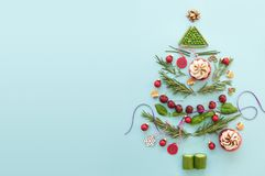 Christmas tree flat lay background royalty free stock photos