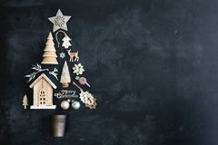 Christmas tree flat lay Stock Images