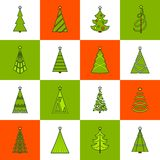 Christmas Tree Flat Line Icons Stock Photo
