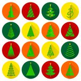 Christmas tree flat round buttons Royalty Free Stock Photo