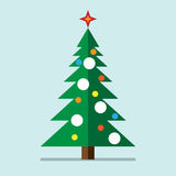 Christmas tree, flat style. Christmas tree with decorations, star and snow on light bluish background. Flat style. EPS 10 vector illustration, no transparency Stock Image
