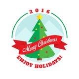 Christmas tree flat style logo Stock Photos