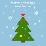 Christmas tree in flat style with snowflakes on blue background. Vector Illustration Stock Image