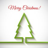 Christmas tree in flat style on white background. Vector Illustration Royalty Free Stock Photos