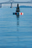 Christmas tree on a float in San Franciso Bay Royalty Free Stock Photo
