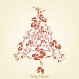 Christmas tree floral. Graphic design - Christmas tree floral, vintage Stock Photo